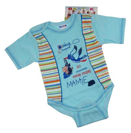 Body niemowlęce krótki rękaw są wykonane z atestowanej polskiej 100% bawełny przez polskiego producenta. Są miękkie i delikatne w dotyku. Niezastąpione w wyprawce niemowlęcej. Body dla noworodka ma rozmiar 86.